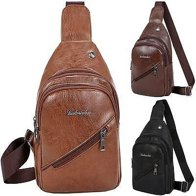 Men's Chest Bag PU Leather Shoulder Backpack Sling Cross Body Satchel Travel Bag • 6.64£