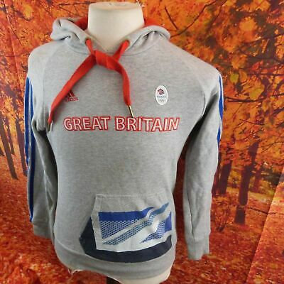 Adidas Team GB Grey 80% Cotton Great Britain Olympics Hoodie. UK Women's Size 12 • 15.99£