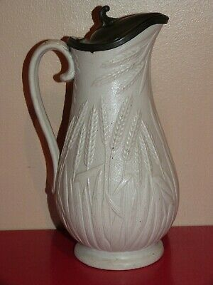 Victorian Relief Moulded Dudson Pewter Lidded Barley Corn Jug • 25£