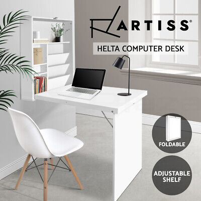 AU88.90 • Buy Artiss Computer Desk Office Foldable Wall Mount Study Table Storage Bookcase