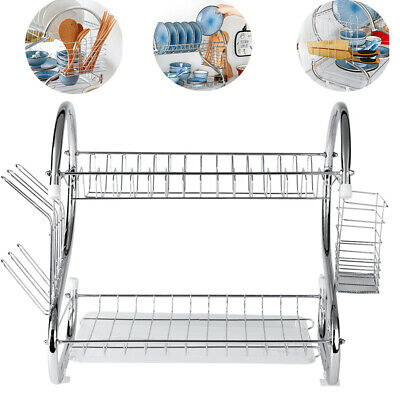 2 Tier Kitchen Chrome Dish Drainer Cutlery Cup Plates Holder Sink Rack Drip Tray • 12.99£