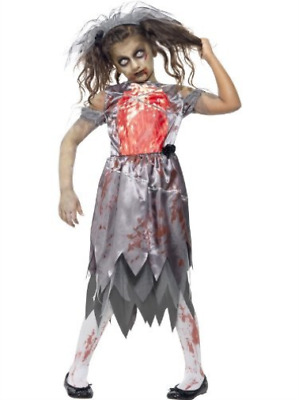 Zombie Bride Costume, Grey, With Bloodied Dress, Printed Chest Piec.. COST-W NEW • 14.41£
