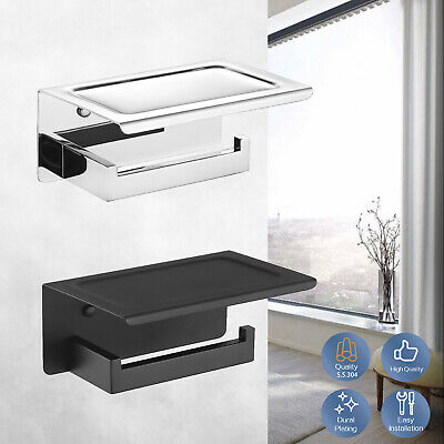 AU31.99 • Buy Toilet Paper Roll Holder With Phone Shelf 304 Stainless Steel Silver Black