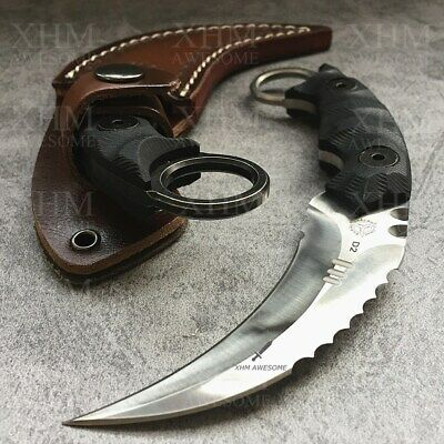 AU59.99 • Buy D2 Tactical Karambit Outdoor Hunting Fixed Blade Knife CSGO Combat Claw Knives S