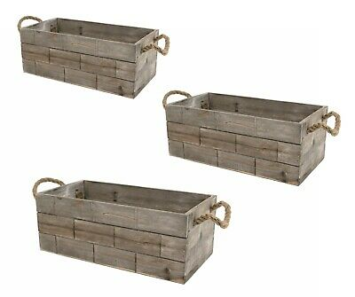 Tile Effect Shallow Retro Vintage Grey Wash Wooden Crate Display Storage Box • 14.99£