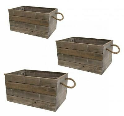 Tile Effect Deep Retro Vintage Grey Wash Wooden Crate Display Storage Box • 17.49£