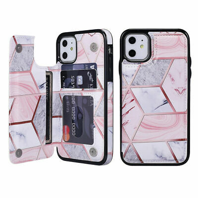 AU8.99 • Buy For IPhone 11 Pro XR X 7 8 Marble Leather Flip Wallet Card Holder Case Cover