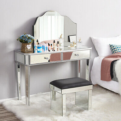 £73.18 • Buy Glass Dressing Table Stool Mirrored Bedroom Make-Up Console Vanity Table Set UK