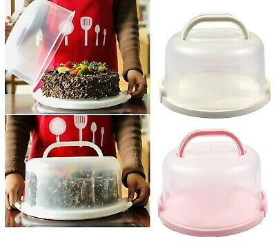 Plastic Round Cake Carrier Cupcake Storage Box Container Handle Lid Lockable NEW • 8.99£