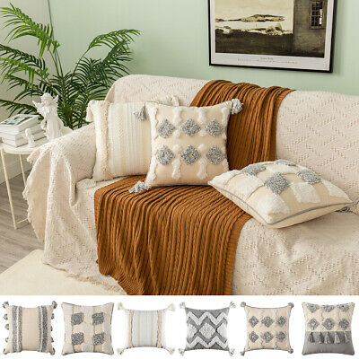 2PCS 45x45cm Morocco Tassel Tufted Boho Cushion Cover Throw Pillow Cases Square • 11.29£