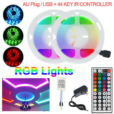 AU27.42 • Buy RGB LED Strip Lights 3528 10M 20M LED 12V AU Plug / USB + 44 KEY IR CONTROLLER