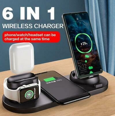 AU30.89 • Buy 6 In 1 Qi Wireless Charger Dock Pad For IWatch 6/5/4/3/2 IPhone 12 Pro Max 11 XS