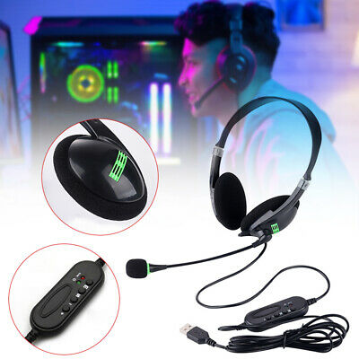 AU14.68 • Buy USB Headset Gaming Headphone Wired Stereo W/Mic For Computer PC Desktop & Laptop