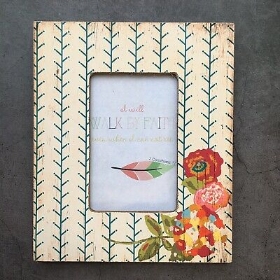 AU19.29 • Buy Creative Co-Op Poppy Floral Design Distressed Rustic Wood Photo Frame 8 X 10