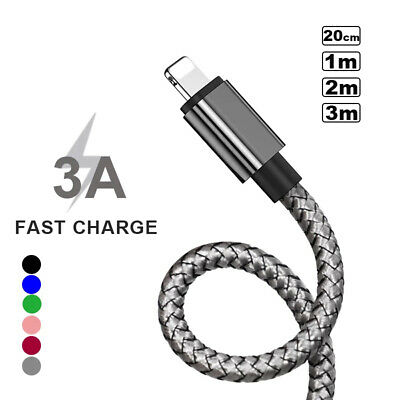 1m 2m 3m Data Sync USB Fast Charging Lead Charger Cable For IPhone 8 7 6 Plus 12 • 3.19£