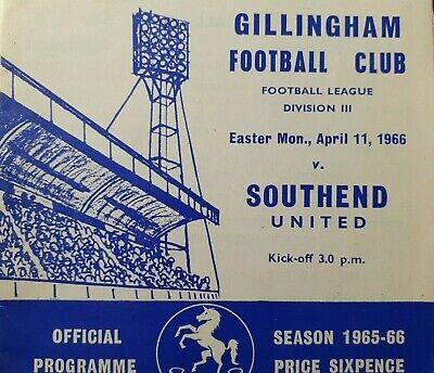 GILLINGHAM V SOUTHEND UNITED, 11/4/66 • 0.99£