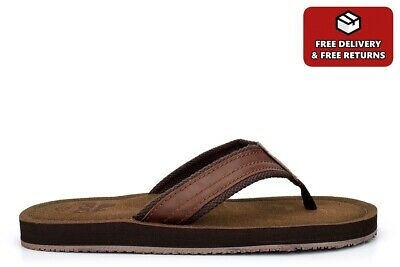 Mens Summer Sandals Faux Leather Flip Flops Leather Effect Mules Toe Post Brown • 13.99£