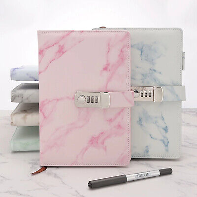 £13.33 • Buy Marbled PU Leather Journal Wired Diary Lockable NoteBook W/ Password Code Lock