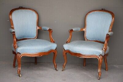 AU3850 • Buy Rare Pair French Louis XV Solid Brazillian Rosewood Fauteuil Armchairs Napoleon