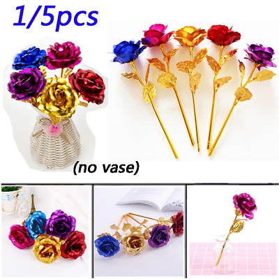 £3.88 • Buy 24K Gold Foil Galaxy Roses Flower Valentine's Day Girlfriend Wife Romantic Gift