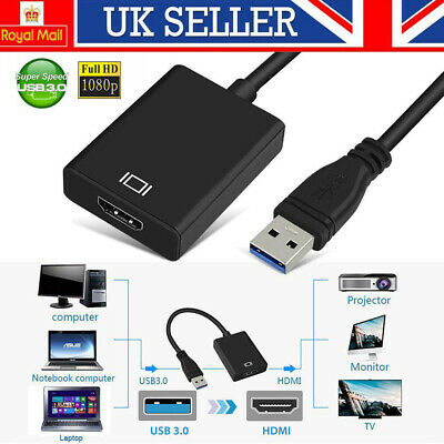 USB 3.0 To HDMI HD 1080P Video Cable Adapter Converter Fit PC Laptop TV Tablets • 11.99£