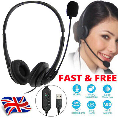 Headphones With Microphone USB Noise Cancelling Headset For Skype Laptop UK • 14.99£