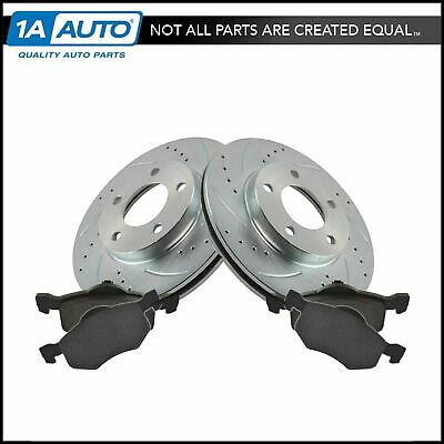 $99.95 • Buy Brake Rotor Drilled Slotted Zinc Coated Ceramic Pad Front Set For Ford
