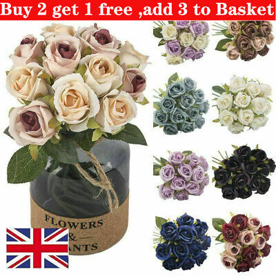 £5.60 • Buy 10 Heads Silk Rose Artificial Flowers Fake Bouquet Buch Wedding Home Party Decor