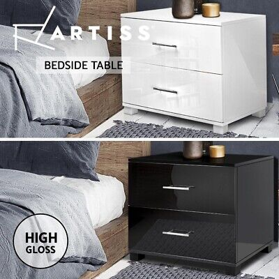 AU105.95 • Buy Artiss Bedside Tables Side Table Bedroom Nightstand 2 Drawers Gloss Black/White