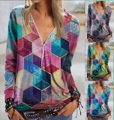 Womens Ladies Shirt Blouse Zipper Print Pullover Casual V-neck Jumper Boho Tops • 9.86£