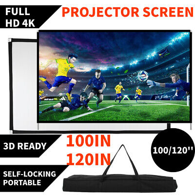 AU69.99 • Buy Portable 120''/100'' Inch Projector Screen 16:9 Home Cinema Theater W/ Stand