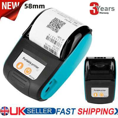 Wireless 58mm Bluetooth Thermal Printer Receipt Label Printing For Android IOS • 34.90£