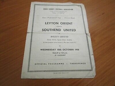 WEST HAM UNITED :  LEYTON ORIENT  V  SOUTHEND UNITED  1956/7 ESSEX CUP FINAL • 14.99£