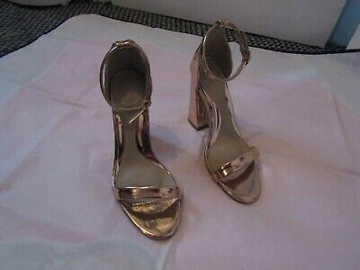 Ladies Missguided Gold Heel Sandal Shoes Size 4 • 5£