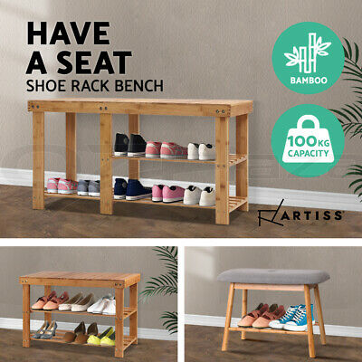AU32.90 • Buy Artiss Shoe Cabinet Bench Shoes Storage Rack Bamboo Organizer Shelf Wooden Stand