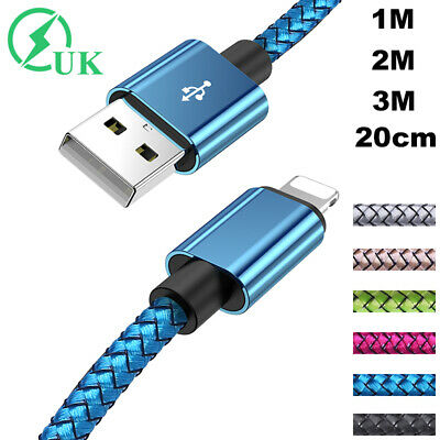 Braided Fast Charge Charger Cable For IPhone IPad USB Sync Data Lead 2m 3m Long • 3.26£
