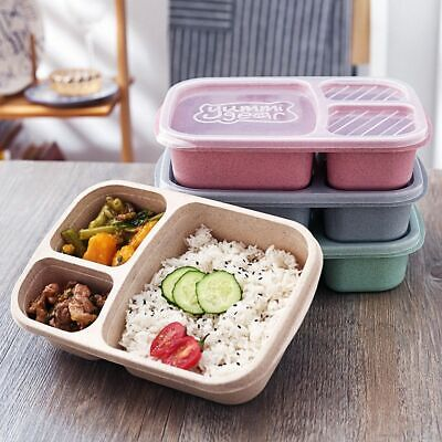 -3 Compartments Lunch Box Food Container Storage Boxes Microwave Healthy • 5.87£