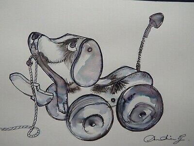 Original Pen & Ink Drawing Of A Fisher Price Little Snoopy Pull Along Toy Dog • 19.99£