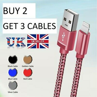 USB Cable For  IPhone 7 8 6 5 X 11/11 Pro Long Charger Charging Fast Lead 2m 3m • 2.89£