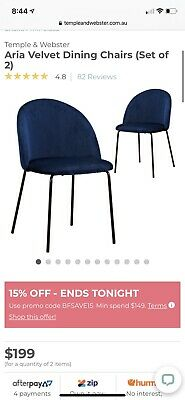 AU149 • Buy Temple & Webster Aria Vevlvet Navy Blue Dining Chair Set Of 2