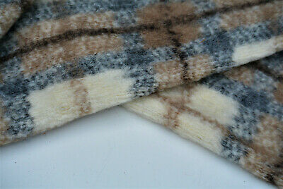£7.99 • Buy Milky White-grey Fawn Check Boiled Wool &cashmere Luxury Knit Made In Italy C166