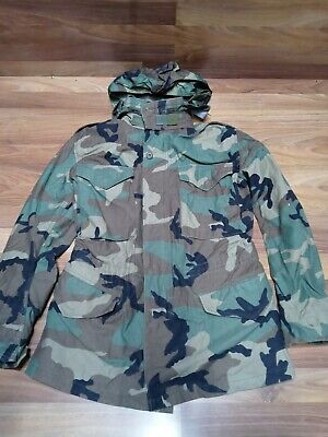 $44.80 • Buy Vintage Woodland Camo M-65 US ARMY Field Jacket XS Hooded Nice USA Free Shipping