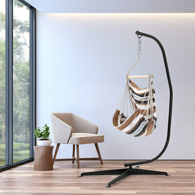 Patio White&Brown Hanging Hammock Rope Swing Chair Garden Seat With Stand Base • 159.59£