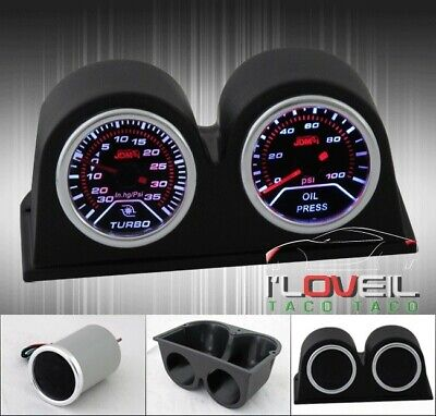 $ CDN69.77 • Buy Jdm Vip Kdm Edm Turbo Boost Gauge + Oil Pressure + Double Pod Holders Combo Kit