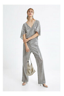 £20.99 • Buy Zara Sparkly Jumpsuit, Colour Silver, Size XS, Brand New With Tags, RRP £95.99