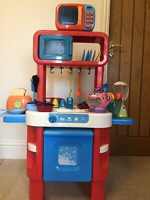 Elc Red And Blue Play Kitchen With Accessories. In Good Condition. • 30£