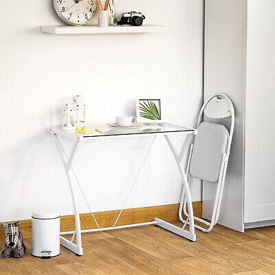 £56.53 • Buy White Small Glass Desk Computer Home Office Study Writing Table Work Station UK