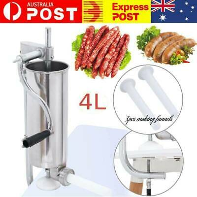 AU77.89 • Buy 4L 304 Stainless Steel Meat Sausage Filler Stuffer Maker Vertical Machine Filler