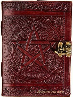 Urban Leather Book Celtic Star Pentagram, Book Of Shadows & Magic Spell, Drawing • 25.67£
