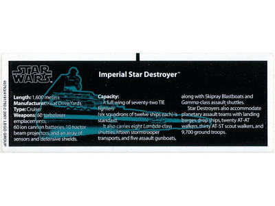 Lego Star Wars STICKER SHEET ONLY For Lego Set 10030 Imperial Star Destroyer UCS • 59.99£